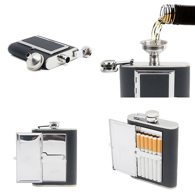 6 Oz Leather Coat Hip Flask Cigarette Case Combo W Stainless Steel Funnel Black