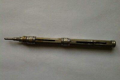 Antique/Vintage Silver Plated Brass Double Ended Sliding Propelling Slide Pencil