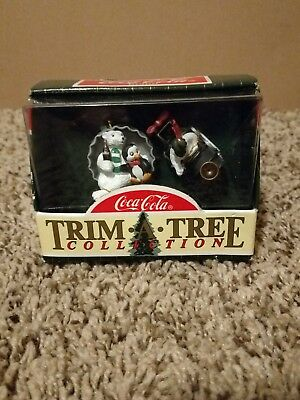 Coca Cola Christmas Trim A Tree, Polar Bear & Penguin In Cap & On Train, Nib