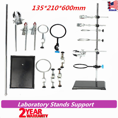 60cm Laboratory Stands Lab Flask Support Clamp Condenser Clamp Stands + Clips