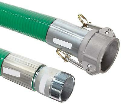 """Goodyear EP Spiraflex Aggie Green PVC Suction/Discharge Hose Assembly, 4"""" Cam x"""