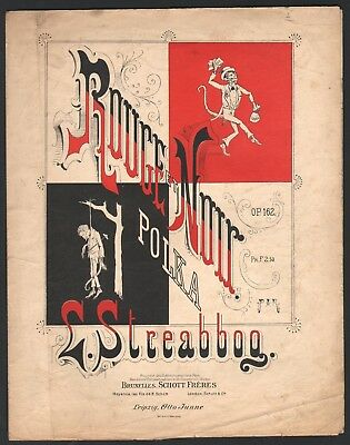 1900 Black Man Negro Lynching Rouge et Noir Red & Black French Sheet Music