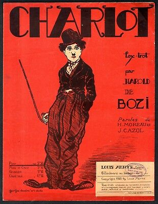 1921 Charlie Chaplin Charlot French Large Format Sheet Music