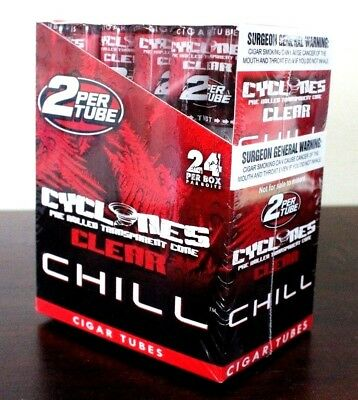 Cyclone Clear Chill Red Flavored Pre Rolled Cones~24 Tubes~48 Total~Sealed Fresh