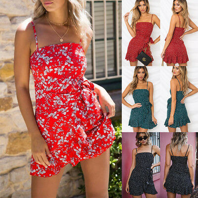 Womens Holiday Strappy Floral Dress Ladies Summer Beach Mini Frilled Boho Dress