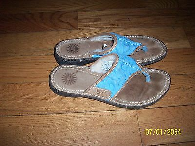 Ugg Flip Flops Suede Blue Slip On Shoes Sandals 5702 EU 40 US 9
