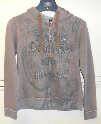 Harley Davidson Women's Brown Hierarcy Zip Up Hoodie Small