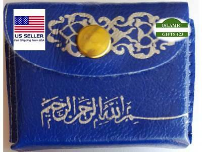 Holy-Quran BLUE (2) Leather-Pouch-Car-Hanging-Ramadan Islamic Gifts-US Seller