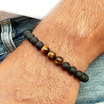Mens Black AAA Matte Onyx & Tiger Eye Yoga Beaded Stretch Bracelet Gift for Him