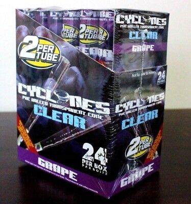 Cyclone Clear Flavored Grape Pre Rolled Cones~24 Pack~48 Total~Fresh And Sealed