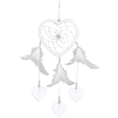 Heart Shape White Dream Catcher Handmade Feathers Wall Hanging Decor Craft R7W1