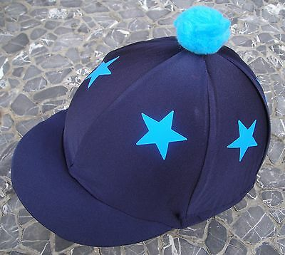 Riding Hat Silk Skull cap Cover NAVY BLUE * TURQUOISE STARS With OR w/o Pompom