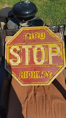 original vintage antique metal yellow and red stop sign