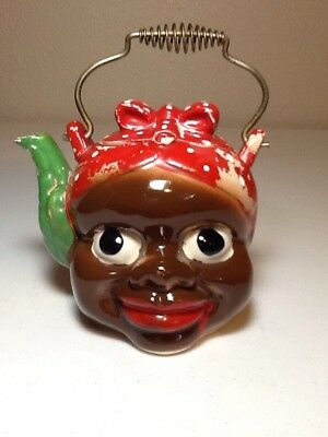 Super Vintage 1950S Black Americana Lady Head Teapot Tea Pot