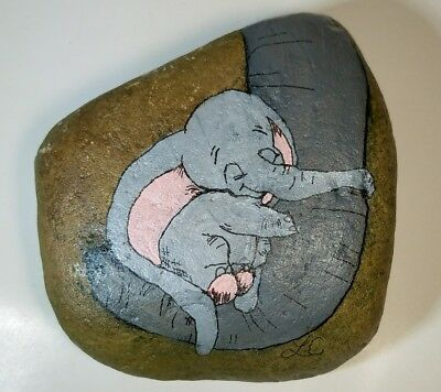 """Unique Hand Painted Rock Elephant baby """"Dumbo"""" Acrylic Painting on River Stone"""