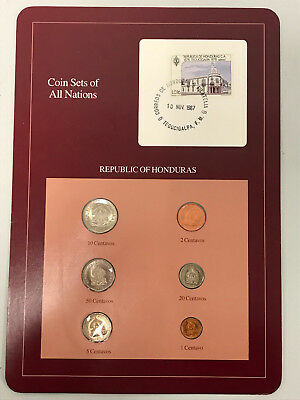 1957-1980 6 PC Coin Sets of All Nations Republic of Honduras Stamped Page