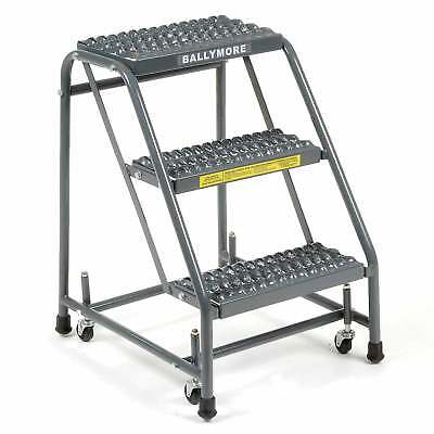 """Ballymore 318G Grip 16""""W 3 Step Steel Rolling Ladder 10""""D Top Step, Lot of 1"""