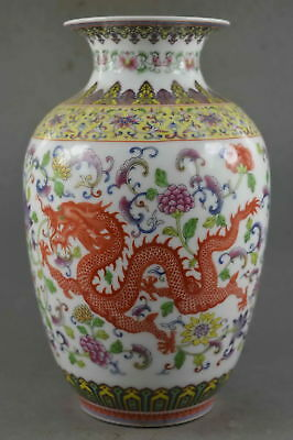 Collection Handwork Decor Porcelain Paint Dragon & Phoenix Auspicious Noble Vase