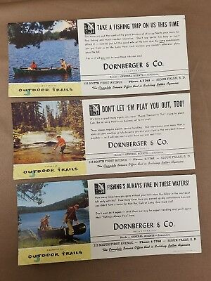 Lot of 3 Antique Ink Blotter Advertising Cards Dornberger & Co Sioux Falls SD