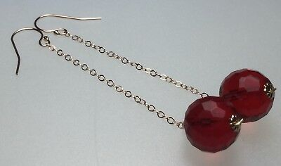 Bespoke Vintage 1930's Red Glass Bead 14ct Rose Gold Filled Earrings #900