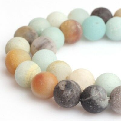 Wholesale Natural Amazonite Multicolor Round Frost Stone Loose Beads 4-12mm 15""