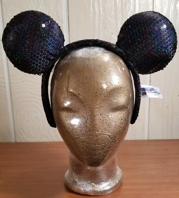 DISNEY PARKS MINNIE MOUSE EARS HEADBAND--BLACK SEQUIN -Youth