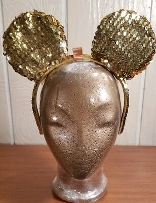 DISNEY PARKS MINNIE MOUSE EARS HEADBAND--GOLD SEQUIN READY FOR BOW-Youth