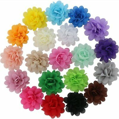 QingHan 19 Colors Baby Girl Chiffon Flowers Lined Hair Bows Clips for Teens