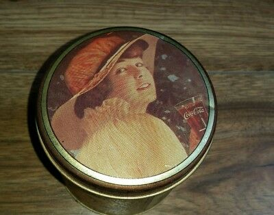 Vintage 1984 Coca Cola rounded tin by Bristol Ware Pretty Lady in Hat