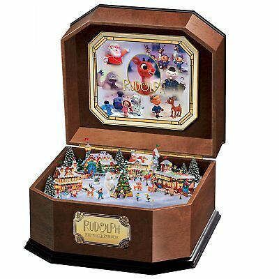 Rudolph The Red-Nosed Reindeer Music Box With Art And 3D North Pole Scene Inside