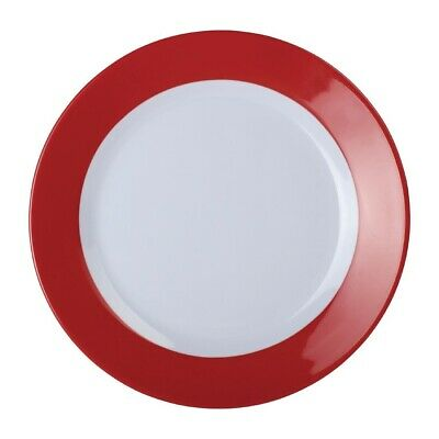 Kristallon Gala Colour Rim Melamine Plate Red 195mm (Pack of 6)