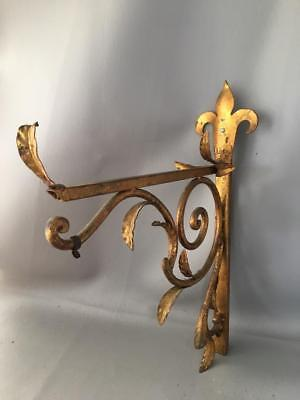 ANTIQUE VTG ITALIAN GOLD METAL TOLE FLEUR de LIS SCONCE WALL LAMP BRACKET HOLDER