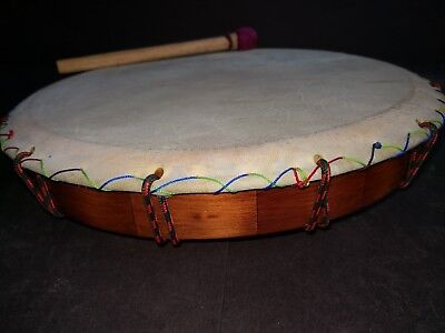 Large Atzec Shamanic Ayacahuite Drum Mexican Latin Musical Percussion Instrument