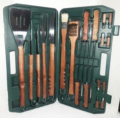 BBQ Grill Tools Set 18 Piece Accessories Storage Case Stainless Steel Wood