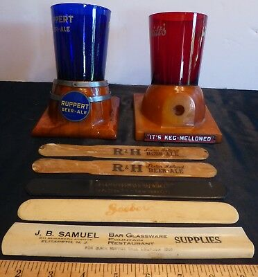 Vintage Ruppert Breidt's Beer Ale Foam Scraper Glass Holder Lot of 7 NYC NJ SI