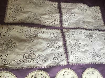 Stunning Antique 10 Piece Set 4 Placemats 6 Doilies Filet Lace Hw Embroidery