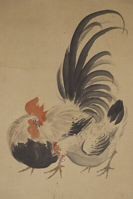 """JAPANESE HANGING SCROLL ART Painting """"Chicken"""" Asian antique  #E2888"""