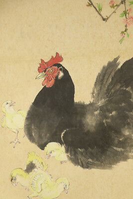 """JAPANESE HANGING SCROLL ART Painting """"Chicken"""" Asian antique  #E2886"""