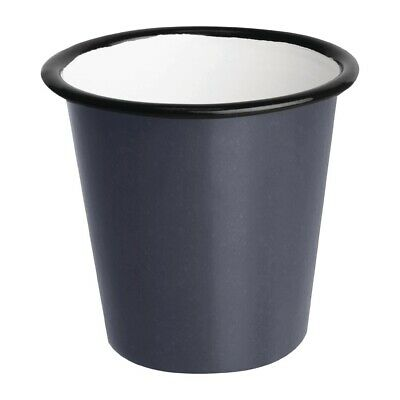 Olympia Enamel Sauce Cup Grey and Black (Pack of 6) (Next working day to UK)