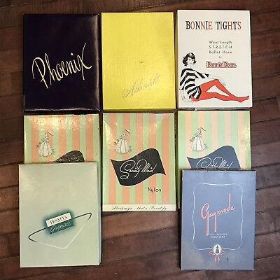 Lot of Eight Vintage 50s 60s Advertising Display Womens Pantyhose Gift Boxes
