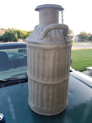 Old Vintage Antique Gas Can Oil Can White Eagle 10 Gallon Galvanized Station