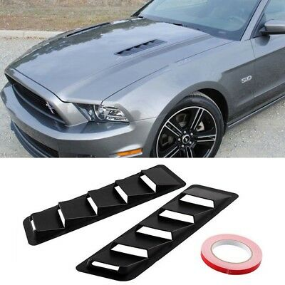 Fits 17X5 Inch Universal Hood Vent Louver Cooling Panel Trim Set Black ABS F3F3