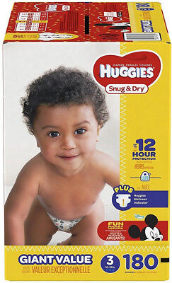 Huggies Snug & Dry Baby Diapers Size 3 180 Count One Month Supply for 16-28 lbs
