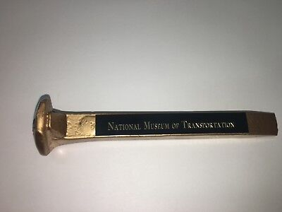 Vintage Railroad Spike Golden Colored with National Museum of Transportation on