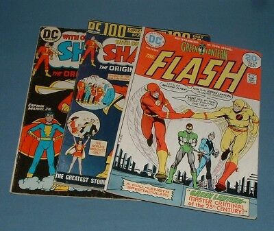 Dc Comics: (2) Shazam & (1) Flash Comics - 1970's  - Used Condition