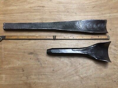 Vintage Pair Of Hand Forged , Blacksmith Made Wood Carving Chisel Gouges