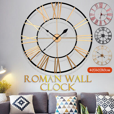 40/60/80cm Large Outdoor Garden Roman Wall Clock Metal Giant Numerals Round Face