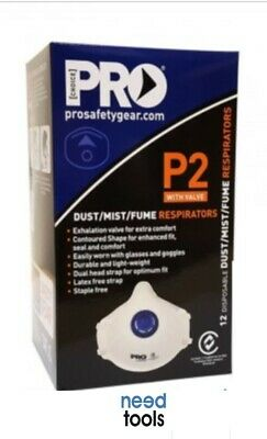 MASK Dust (Box of 12) P2 Disposable Respirator With Valve Dust Masks Prochoice P