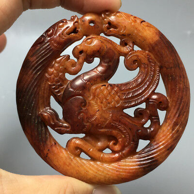Chinese Exquisite Hand carved  mythical creatures carving  Ancient jade pendant