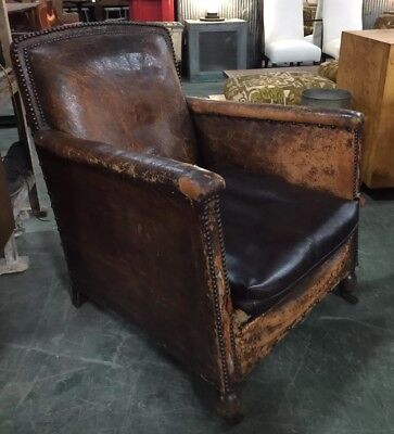 Antique Vintage 1930s French Leather Club Chair Art Deco Cigar ~ Ralph  Lauren
